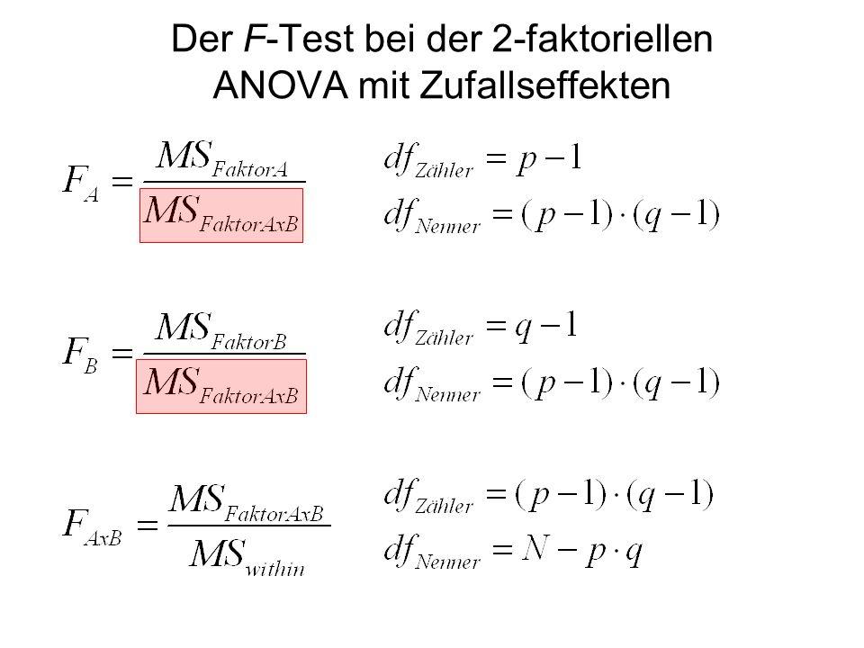 Der F-Test bei der 2-faktoriellen ANOVA mit Zufallseffekten