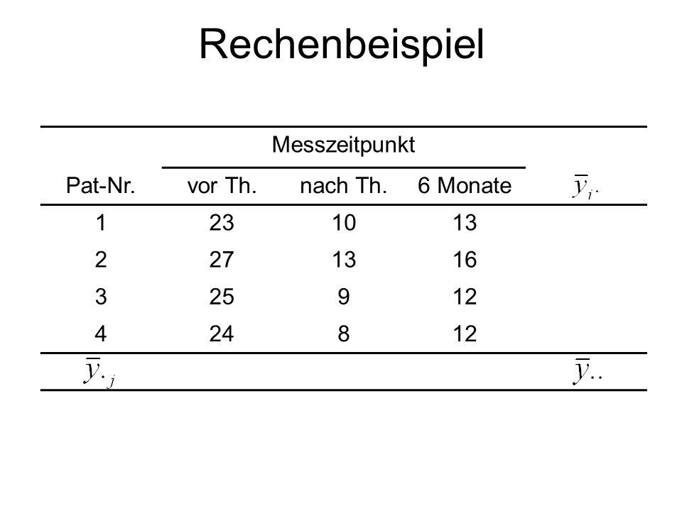 Rechenbeispiel Messzeitpunkt Pat-Nr.vor Th.nach Th.6 Monate 1231013 2271316 325912 424812