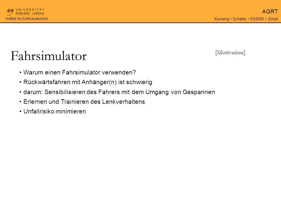 AGRT Kewenig Schaller SS2006 Zöbel Institut für Softwaretechnik Warum einen Fahrsimulator verwenden.