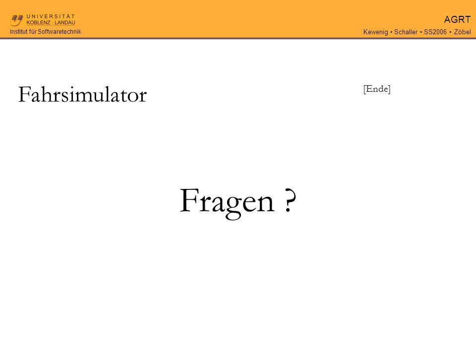 AGRT Kewenig Schaller SS2006 Zöbel Institut für Softwaretechnik Fragen [Ende] Fahrsimulator