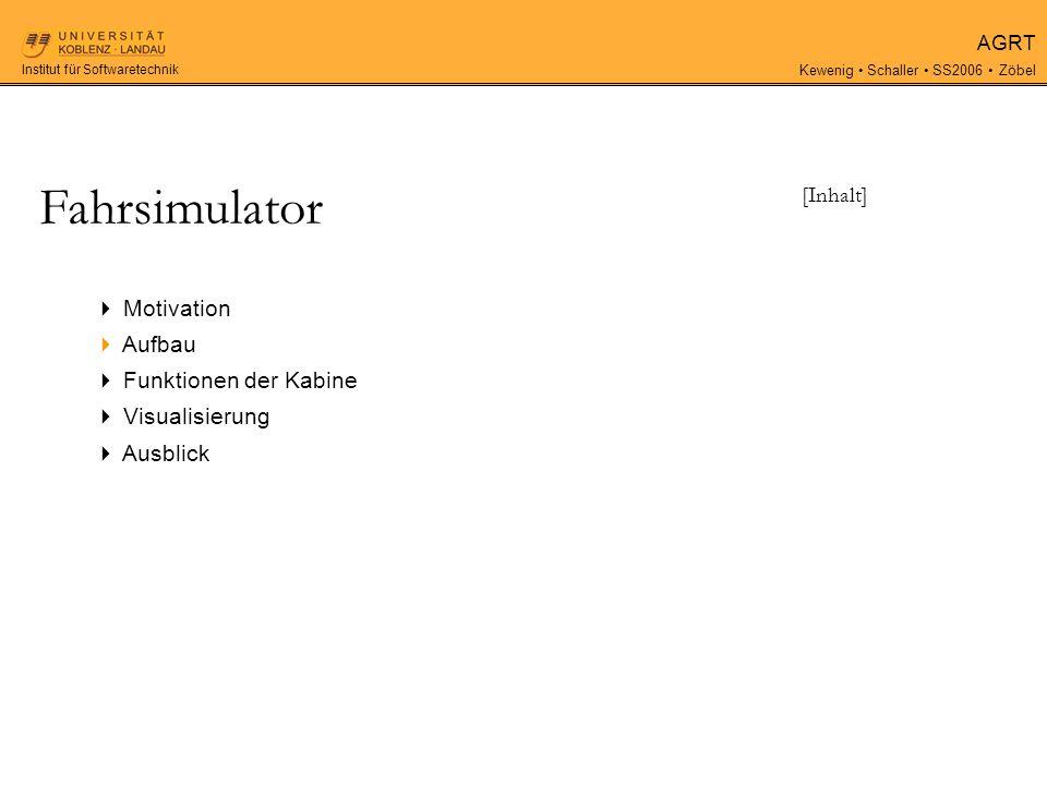 AGRT Kewenig Schaller SS2006 Zöbel Institut für Softwaretechnik Fahrsimulator [Ausblick] Was ist noch zu tun.