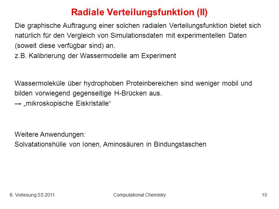 6. Vorlesung SS 2011Computational Chemistry10 Radiale Verteilungsfunktion (II) Die graphische Auftragung einer solchen radialen Verteilungsfunktion bi