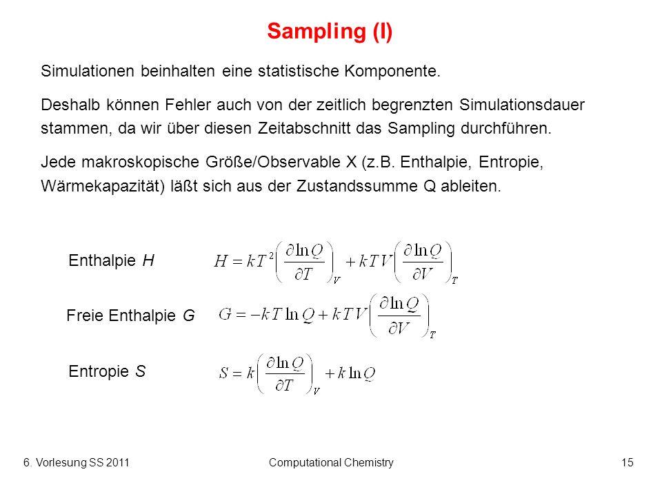 6. Vorlesung SS 2011Computational Chemistry15 Sampling (I) Simulationen beinhalten eine statistische Komponente. Deshalb können Fehler auch von der ze