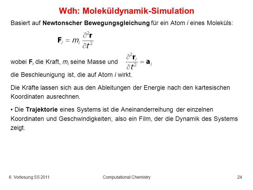 6. Vorlesung SS 2011Computational Chemistry24 Wdh: Moleküldynamik-Simulation Basiert auf Newtonscher Bewegungsgleichung für ein Atom i eines Moleküls: