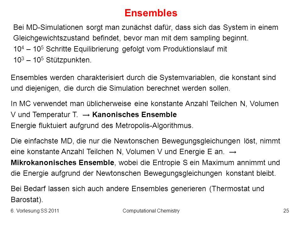6. Vorlesung SS 2011Computational Chemistry25 Ensembles Bei MD-Simulationen sorgt man zunächst dafür, dass sich das System in einem Gleichgewichtszust