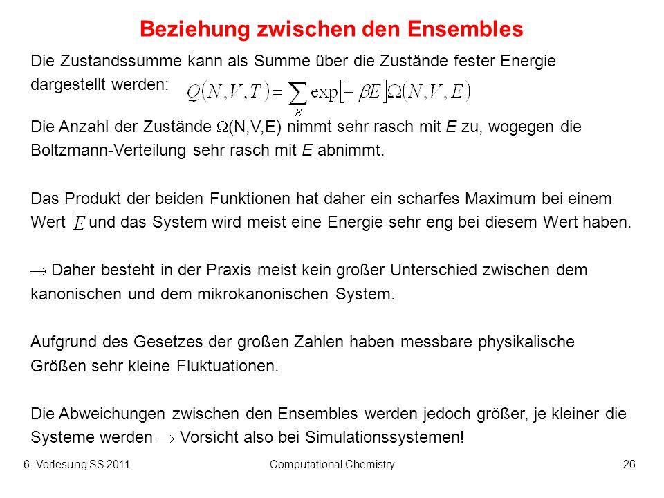 6. Vorlesung SS 2011Computational Chemistry26 Beziehung zwischen den Ensembles Die Zustandssumme kann als Summe über die Zustände fester Energie darge