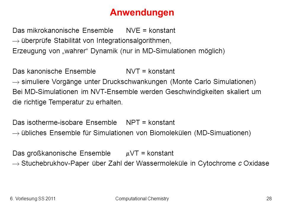 6. Vorlesung SS 2011Computational Chemistry28 Anwendungen Das mikrokanonische EnsembleNVE = konstant überprüfe Stabilität von Integrationsalgorithmen,