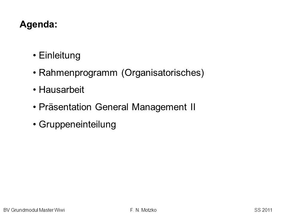 BV Grundmodul Master Wiwi F. N. Motzko SS 2011 Einleitung Rahmenprogramm (Organisatorisches) Hausarbeit Präsentation General Management II Gruppeneint