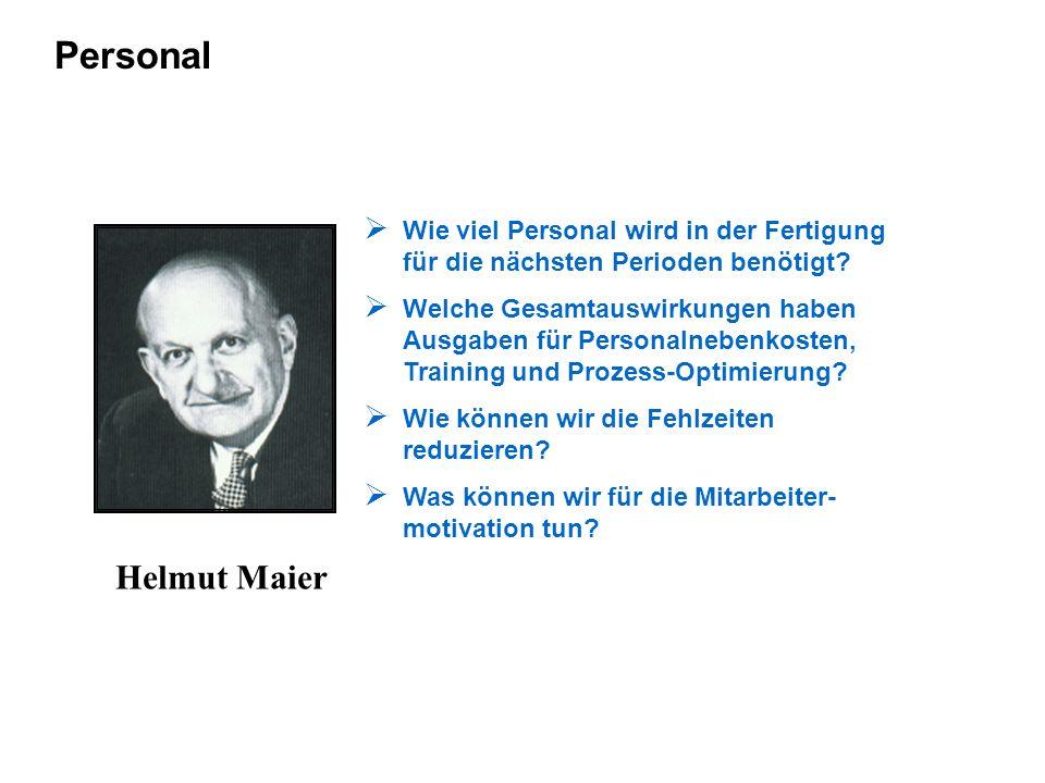 Personal Helmut Maier Wie viel Personal wird in der Fertigung für die nächsten Perioden benötigt? Welche Gesamtauswirkungen haben Ausgaben für Persona