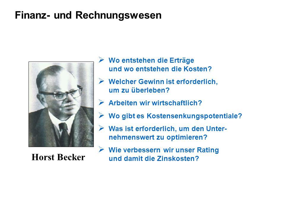 Finanz- und Rechnungswesen Horst Becker Wo entstehen die Erträge und wo entstehen die Kosten? Welcher Gewinn ist erforderlich, um zu überleben? Arbeit