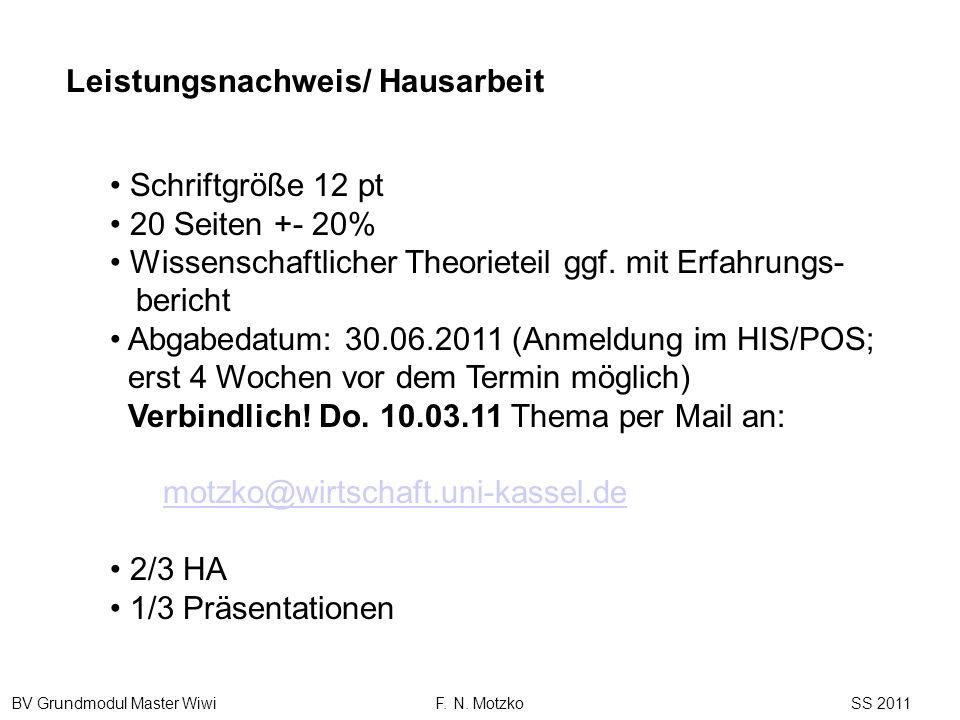 BV Grundmodul Master Wiwi F. N. Motzko SS 2011 Schriftgröße 12 pt 20 Seiten +- 20% Wissenschaftlicher Theorieteil ggf. mit Erfahrungs- bericht Abgabed