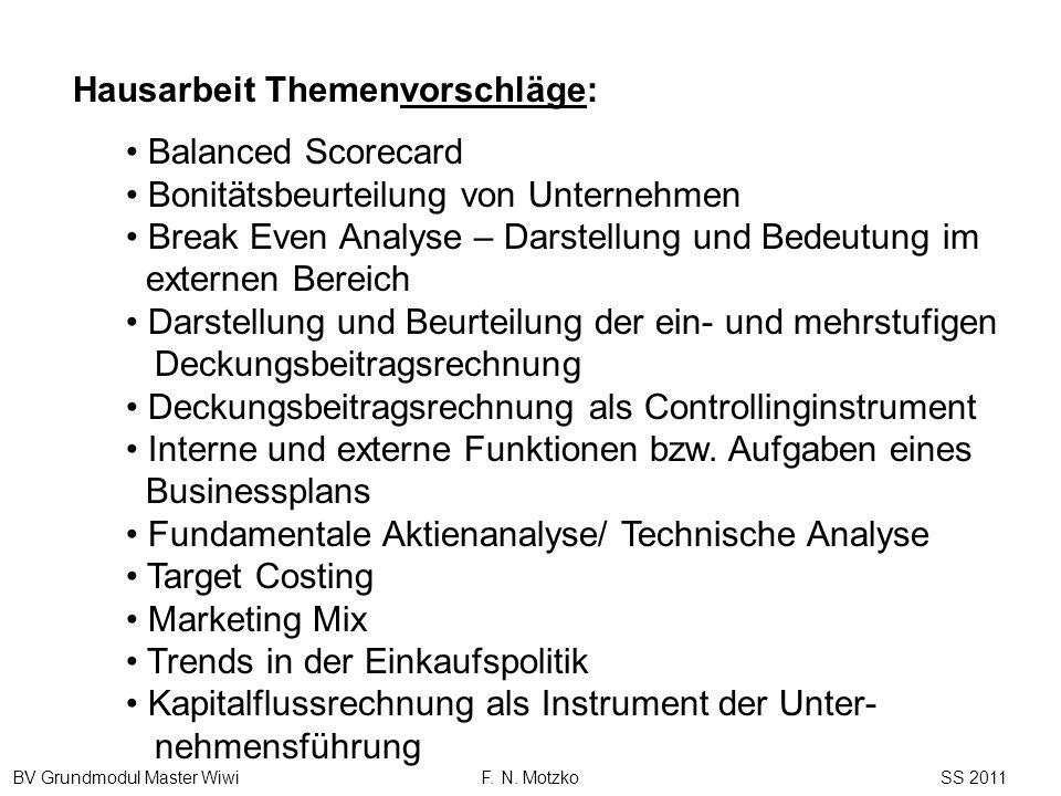 BV Grundmodul Master Wiwi F. N. Motzko SS 2011 Balanced Scorecard Bonitätsbeurteilung von Unternehmen Break Even Analyse – Darstellung und Bedeutung i