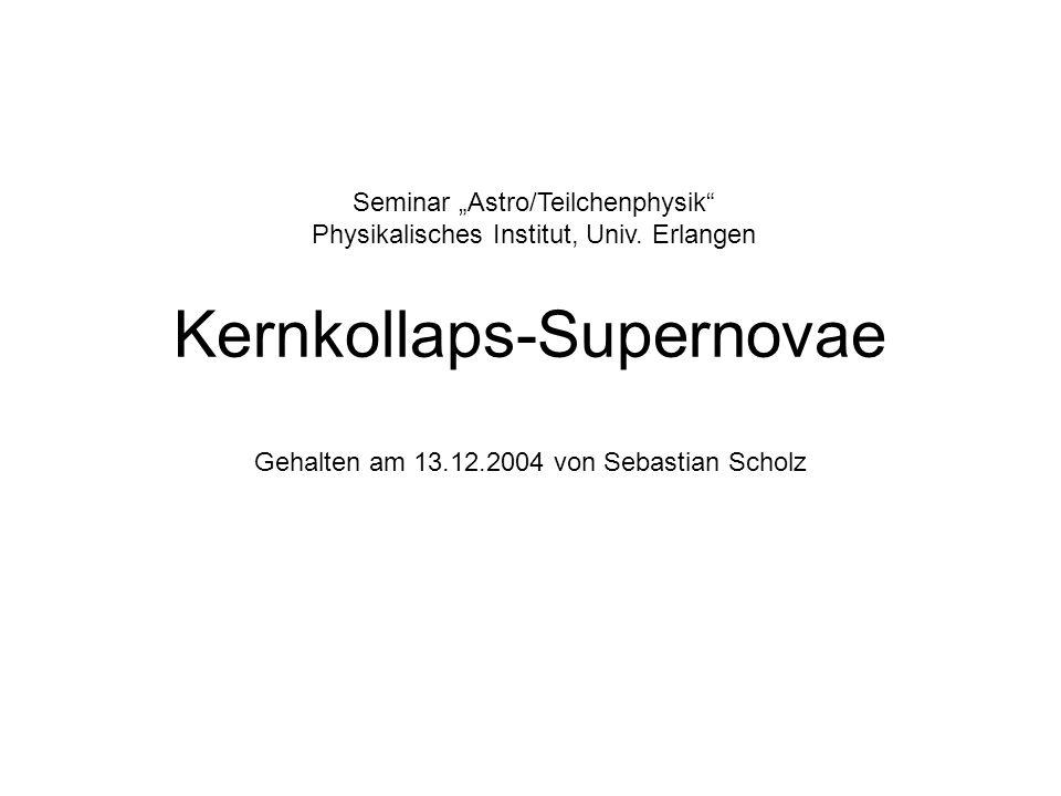 Kernkollaps-Supernovae Gehalten am 13.12.2004 von Sebastian Scholz Seminar Astro/Teilchenphysik Physikalisches Institut, Univ.