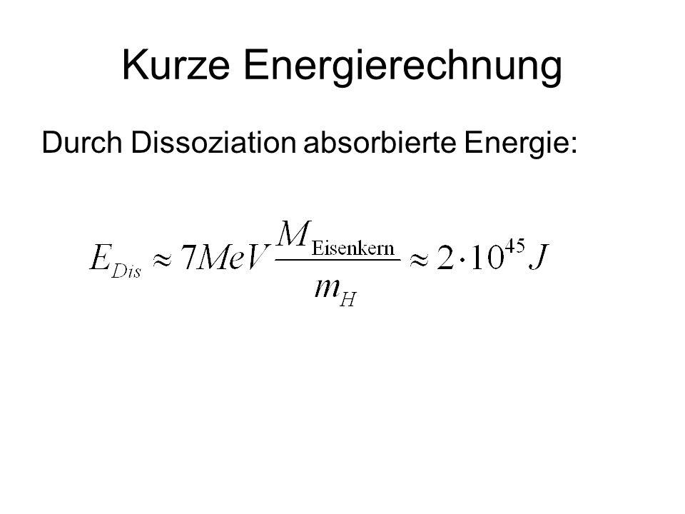 Kurze Energierechnung Durch Dissoziation absorbierte Energie: