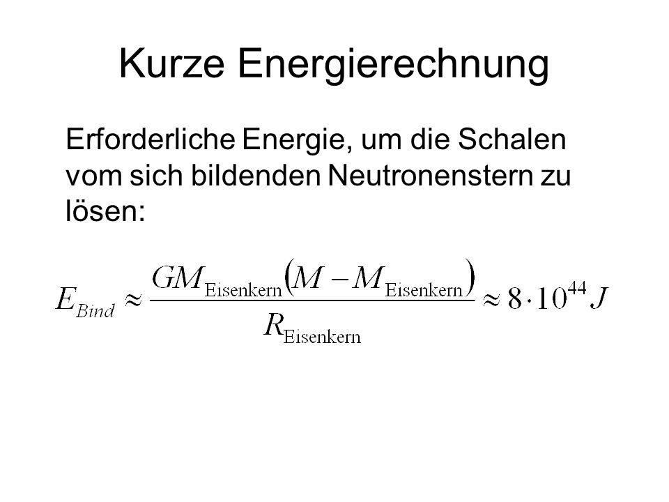Kurze Energierechnung Erforderliche Energie, um die Schalen vom sich bildenden Neutronenstern zu lösen: