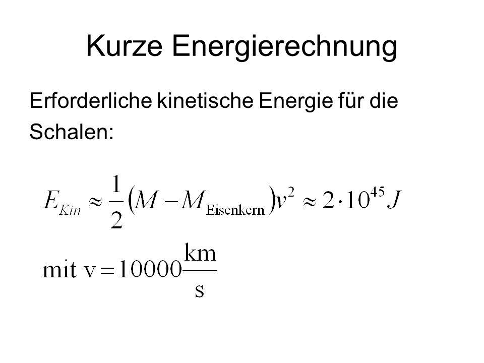 Kurze Energierechnung Erforderliche kinetische Energie für die Schalen: