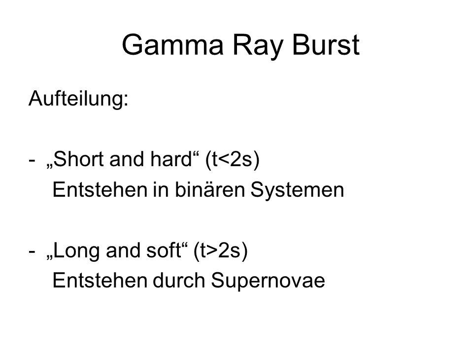 Gamma Ray Burst Aufteilung: -Short and hard (t<2s) Entstehen in binären Systemen -Long and soft (t>2s) Entstehen durch Supernovae