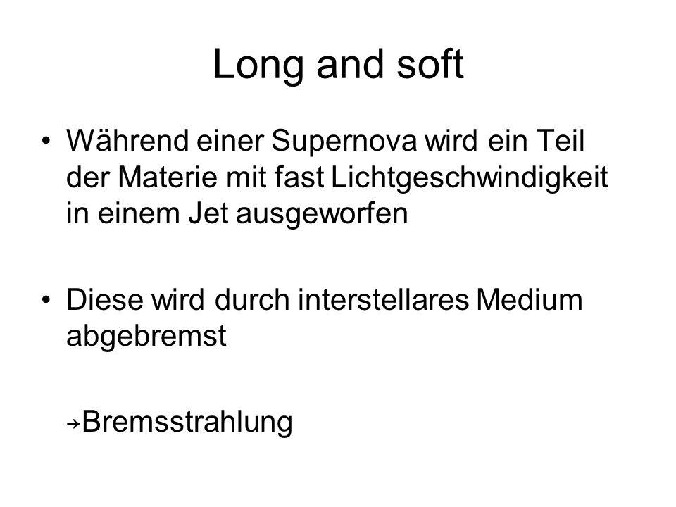 Long and soft Während einer Supernova wird ein Teil der Materie mit fast Lichtgeschwindigkeit in einem Jet ausgeworfen Diese wird durch interstellares Medium abgebremst Bremsstrahlung