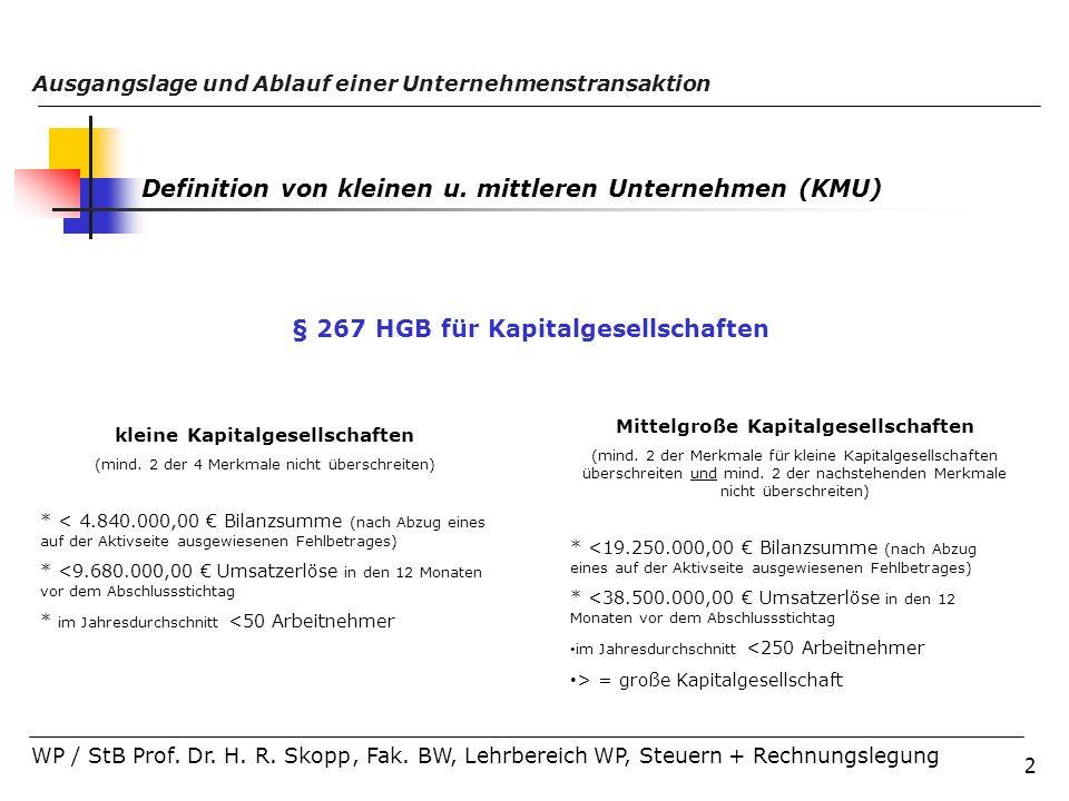 2 Ausgangslage und Ablauf einer Unternehmenstransaktion WP / StB Prof. Dr. H. R. Skopp, Fak. BW, Lehrbereich WP, Steuern + Rechnungslegung Definition