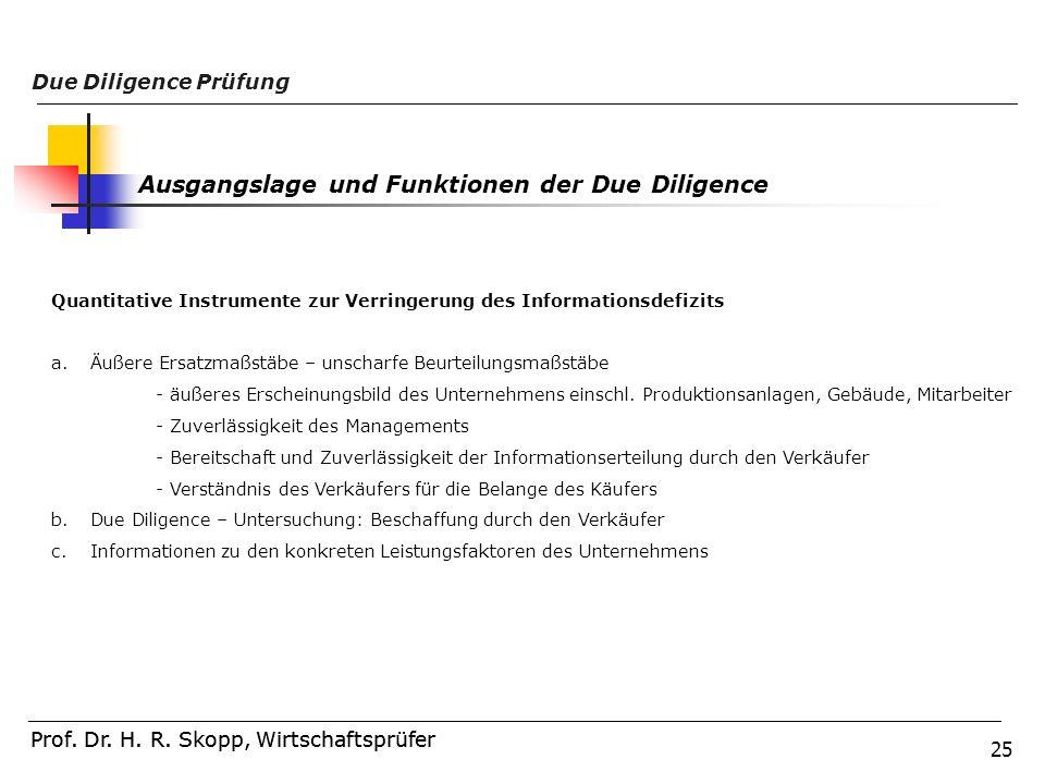 25 Prof. Dr. H. R. Skopp, Wirtschaftsprüfer Due Diligence Prüfung Prof. Dr. H. R. Skopp, Wirtschaftsprüfer Ausgangslage und Funktionen der Due Diligen