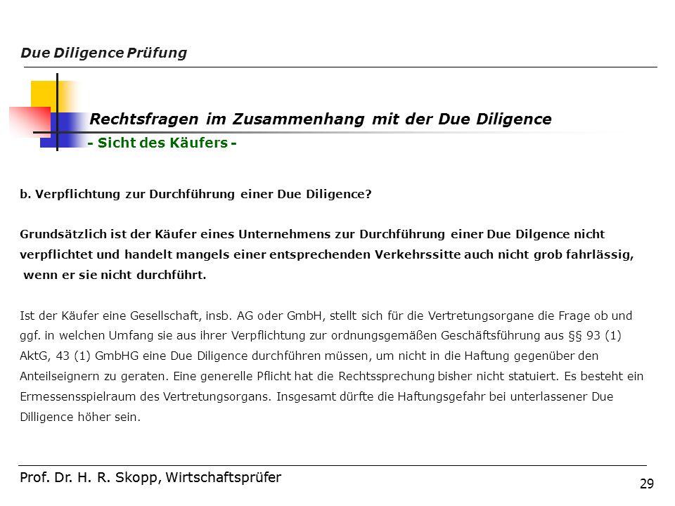 29 Prof. Dr. H. R. Skopp, Wirtschaftsprüfer Due Diligence Prüfung Prof. Dr. H. R. Skopp, Wirtschaftsprüfer Rechtsfragen im Zusammenhang mit der Due Di