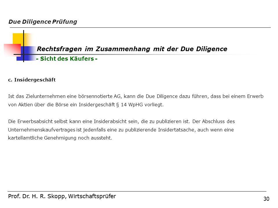 30 Prof. Dr. H. R. Skopp, Wirtschaftsprüfer Due Diligence Prüfung Prof. Dr. H. R. Skopp, Wirtschaftsprüfer Rechtsfragen im Zusammenhang mit der Due Di