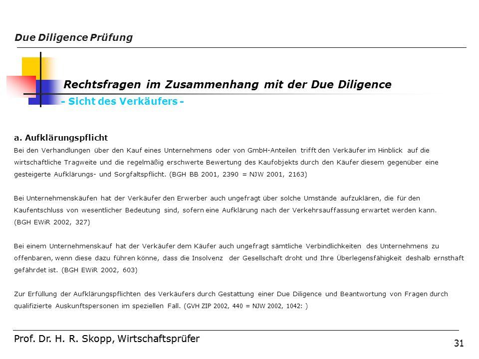 31 Prof. Dr. H. R. Skopp, Wirtschaftsprüfer Due Diligence Prüfung Prof. Dr. H. R. Skopp, Wirtschaftsprüfer Rechtsfragen im Zusammenhang mit der Due Di