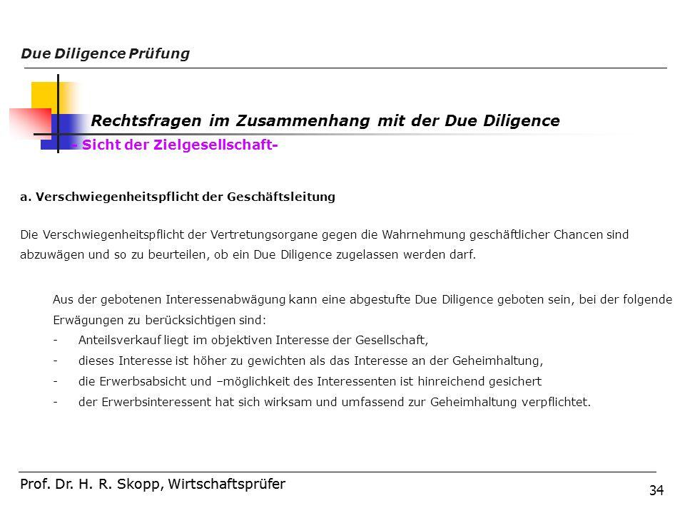 34 Prof. Dr. H. R. Skopp, Wirtschaftsprüfer Due Diligence Prüfung Prof. Dr. H. R. Skopp, Wirtschaftsprüfer Rechtsfragen im Zusammenhang mit der Due Di