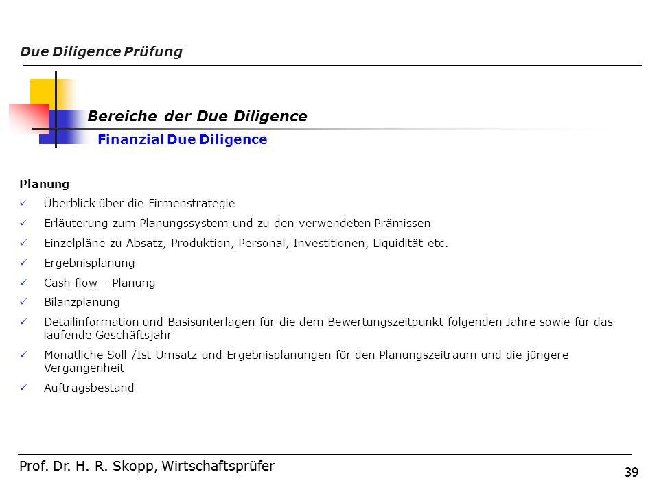 39 Prof. Dr. H. R. Skopp, Wirtschaftsprüfer Due Diligence Prüfung Prof. Dr. H. R. Skopp, Wirtschaftsprüfer Planung Überblick über die Firmenstrategie