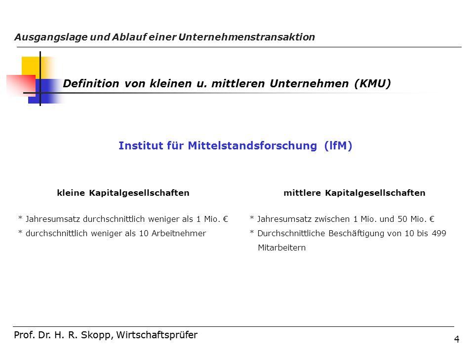 4 Prof. Dr. H. R. Skopp, Wirtschaftsprüfer Ausgangslage und Ablauf einer Unternehmenstransaktion Prof. Dr. H. R. Skopp, Wirtschaftsprüfer Definition v