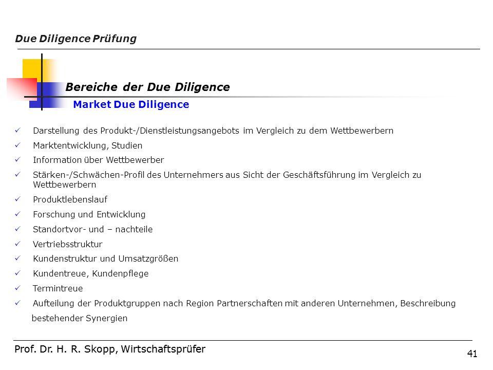 41 Prof. Dr. H. R. Skopp, Wirtschaftsprüfer Due Diligence Prüfung Prof. Dr. H. R. Skopp, Wirtschaftsprüfer Darstellung des Produkt-/Dienstleistungsang