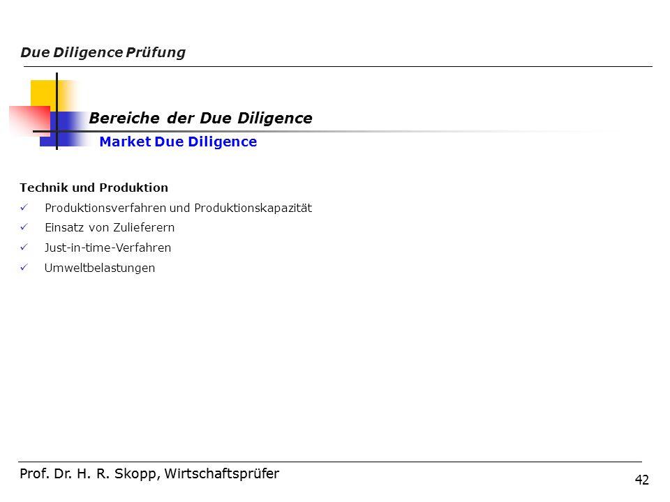 42 Prof. Dr. H. R. Skopp, Wirtschaftsprüfer Due Diligence Prüfung Prof. Dr. H. R. Skopp, Wirtschaftsprüfer Technik und Produktion Produktionsverfahren