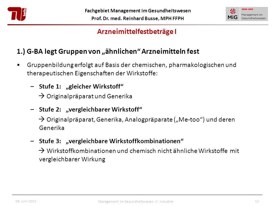 Fachgebiet Management im Gesundheitswesen Prof. Dr. med. Reinhard Busse, MPH FFPH 06. Juni 2012Management im Gesundheitswesen III: Industrie12 1.) G-B