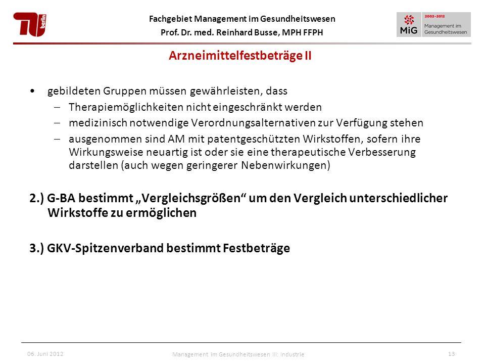 Fachgebiet Management im Gesundheitswesen Prof. Dr. med. Reinhard Busse, MPH FFPH 06. Juni 2012Management im Gesundheitswesen III: Industrie13 gebilde