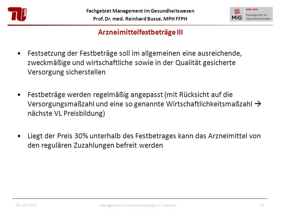 Fachgebiet Management im Gesundheitswesen Prof. Dr. med. Reinhard Busse, MPH FFPH 06. Juni 2012Management im Gesundheitswesen III: Industrie14 Arzneim