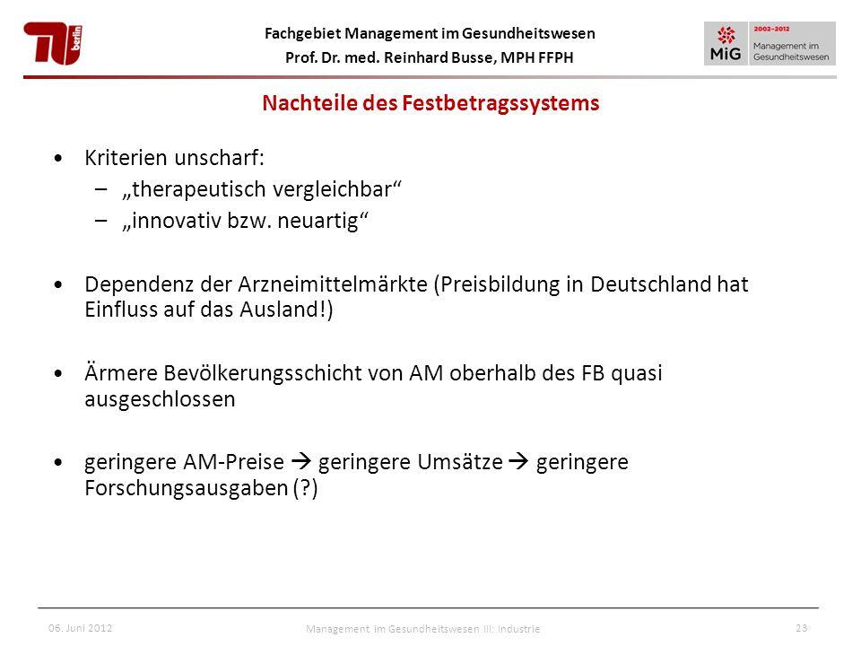 Fachgebiet Management im Gesundheitswesen Prof. Dr. med. Reinhard Busse, MPH FFPH 06. Juni 2012Management im Gesundheitswesen III: Industrie23 Nachtei
