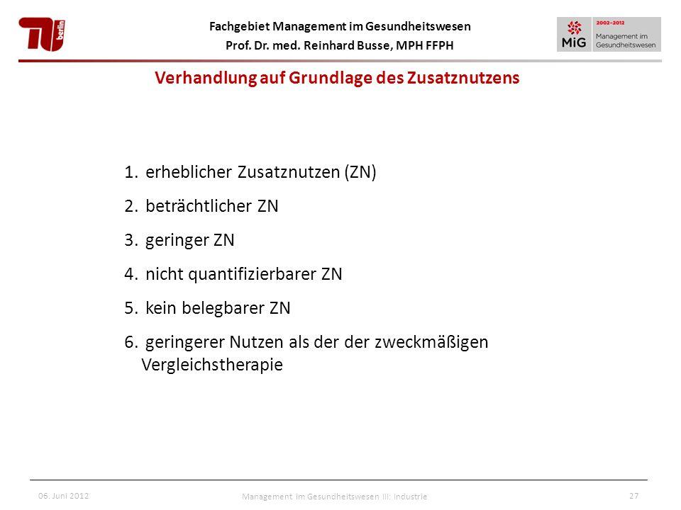 Fachgebiet Management im Gesundheitswesen Prof. Dr. med. Reinhard Busse, MPH FFPH 06. Juni 2012Management im Gesundheitswesen III: Industrie27 1. erhe