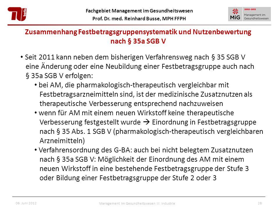 Fachgebiet Management im Gesundheitswesen Prof. Dr. med. Reinhard Busse, MPH FFPH 06. Juni 2012Management im Gesundheitswesen III: Industrie28 Seit 20