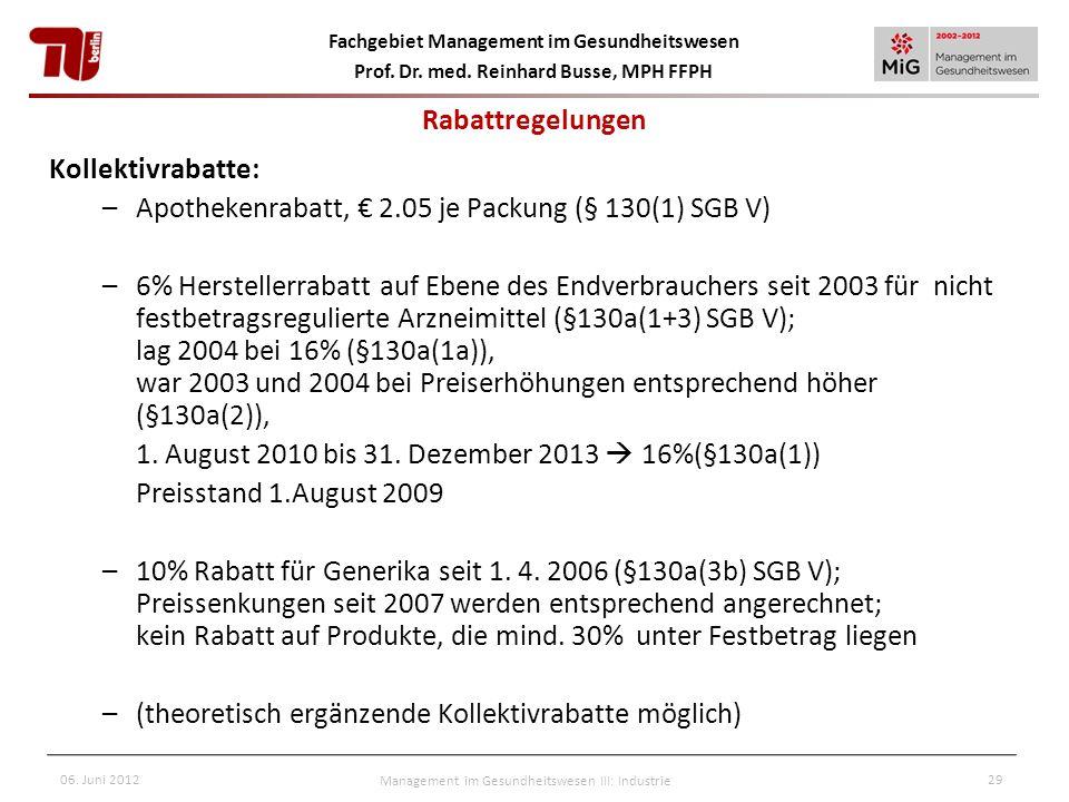 Fachgebiet Management im Gesundheitswesen Prof. Dr. med. Reinhard Busse, MPH FFPH 06. Juni 2012Management im Gesundheitswesen III: Industrie29 Rabattr