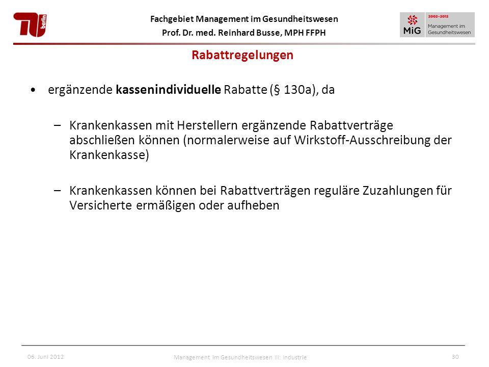 Fachgebiet Management im Gesundheitswesen Prof. Dr. med. Reinhard Busse, MPH FFPH 06. Juni 2012Management im Gesundheitswesen III: Industrie30 ergänze