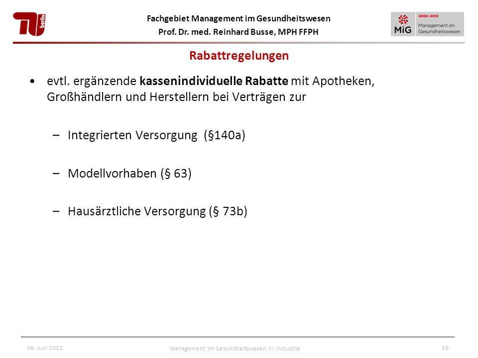 Fachgebiet Management im Gesundheitswesen Prof. Dr. med. Reinhard Busse, MPH FFPH 06. Juni 2012Management im Gesundheitswesen III: Industrie33 evtl. e