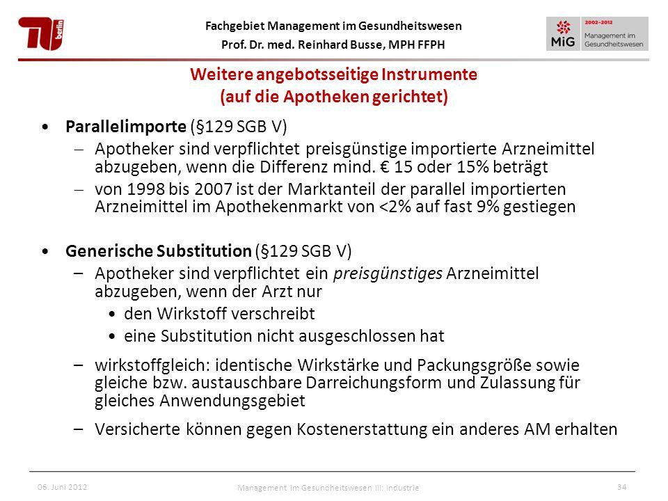 Fachgebiet Management im Gesundheitswesen Prof. Dr. med. Reinhard Busse, MPH FFPH 06. Juni 2012Management im Gesundheitswesen III: Industrie34 Paralle