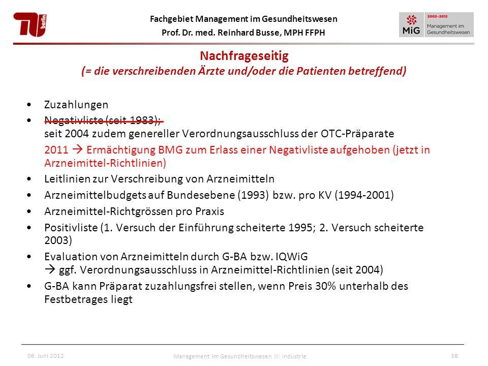 Fachgebiet Management im Gesundheitswesen Prof. Dr. med. Reinhard Busse, MPH FFPH 06. Juni 2012Management im Gesundheitswesen III: Industrie38 Zuzahlu