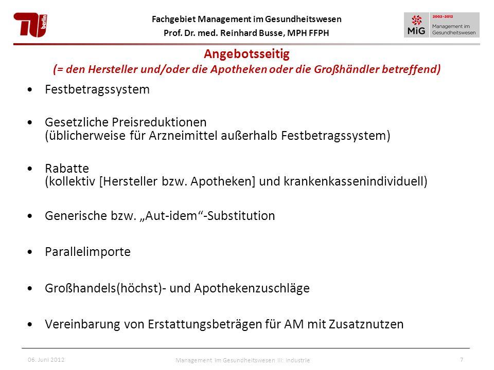 Fachgebiet Management im Gesundheitswesen Prof. Dr. med. Reinhard Busse, MPH FFPH 06. Juni 2012Management im Gesundheitswesen III: Industrie7 Angebots