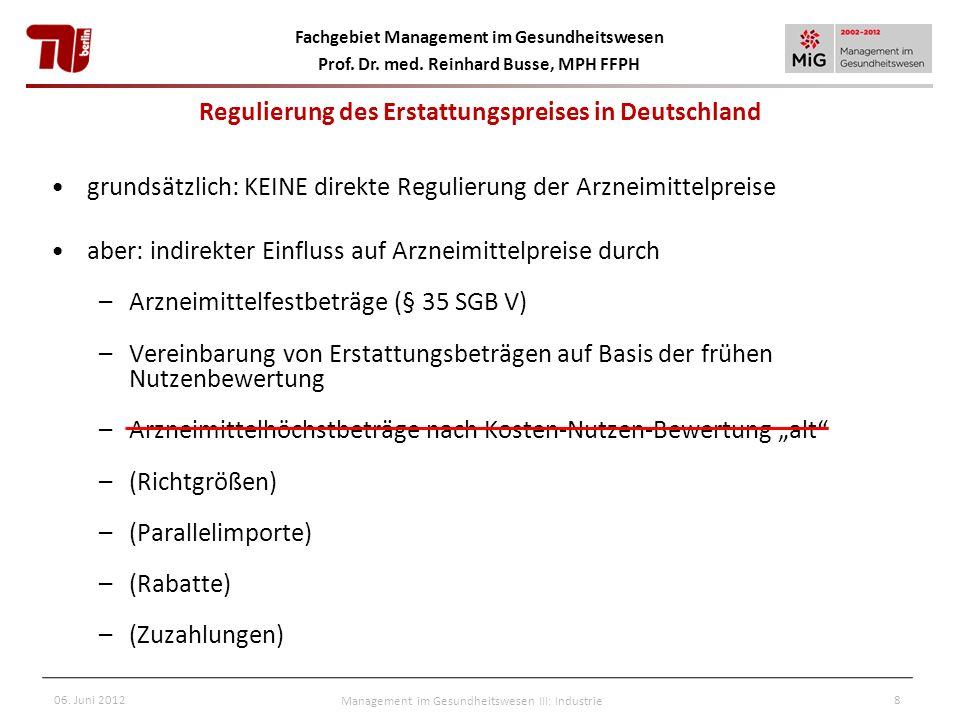Fachgebiet Management im Gesundheitswesen Prof. Dr. med. Reinhard Busse, MPH FFPH 06. Juni 2012Management im Gesundheitswesen III: Industrie8 Regulier