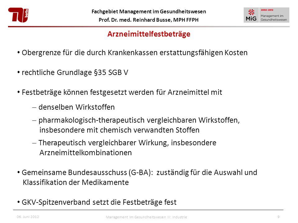 Fachgebiet Management im Gesundheitswesen Prof. Dr. med. Reinhard Busse, MPH FFPH 06. Juni 2012Management im Gesundheitswesen III: Industrie9 Obergren