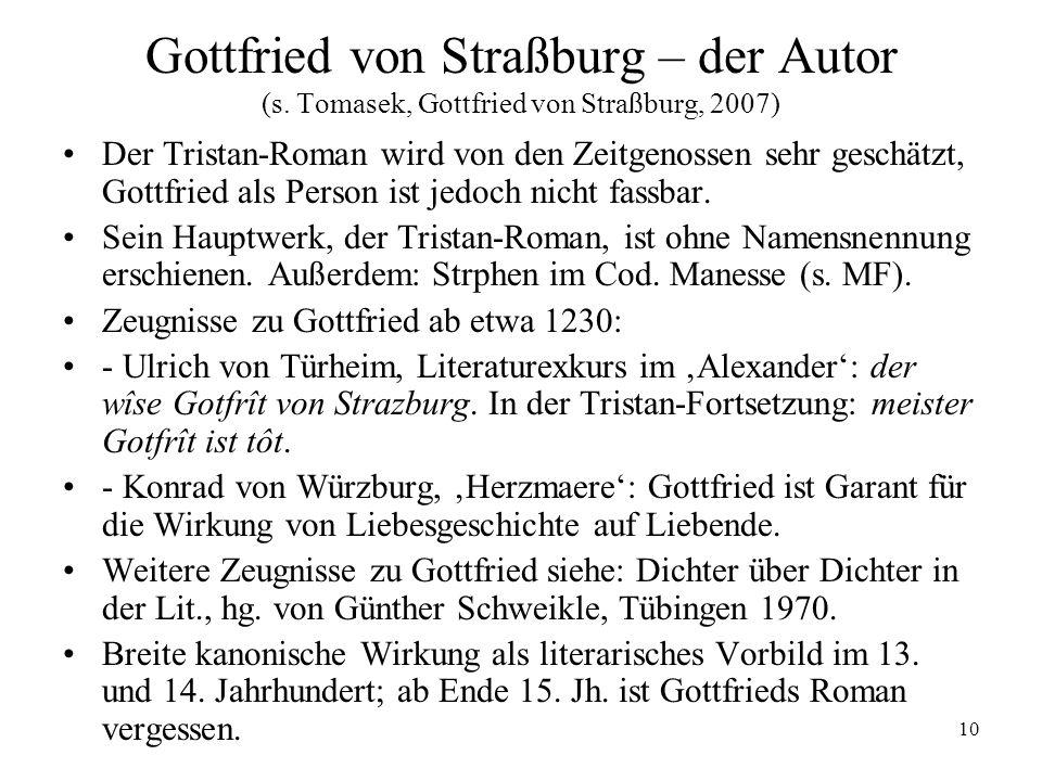 10 Gottfried von Straßburg – der Autor (s. Tomasek, Gottfried von Straßburg, 2007) Der Tristan-Roman wird von den Zeitgenossen sehr geschätzt, Gottfri