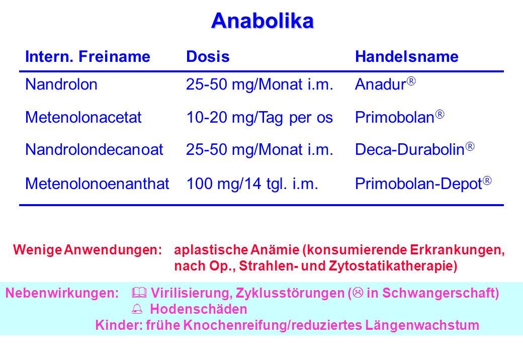 Anabolika Wenige Anwendungen:aplastische Anämie (konsumierende Erkrankungen, nach Op., Strahlen- und Zytostatikatherapie) HandelsnameDosisIntern. Frei
