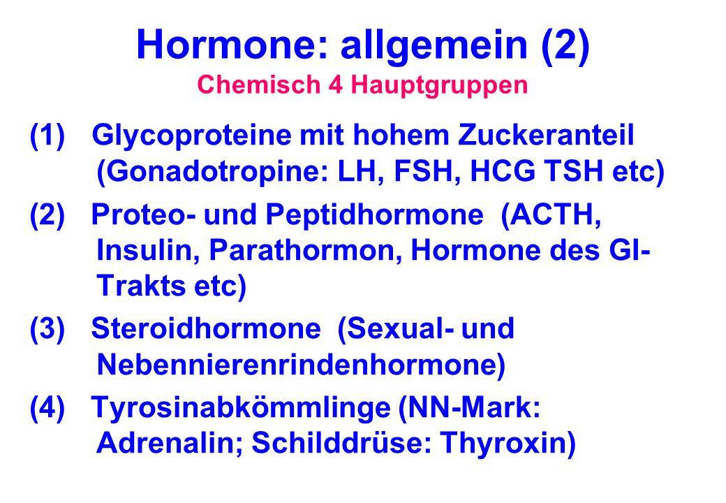 Hormone: allgemein (2) Chemisch 4 Hauptgruppen (1) Glycoproteine mit hohem Zuckeranteil (Gonadotropine: LH, FSH, HCG TSH etc) (2) Proteo- und Peptidho
