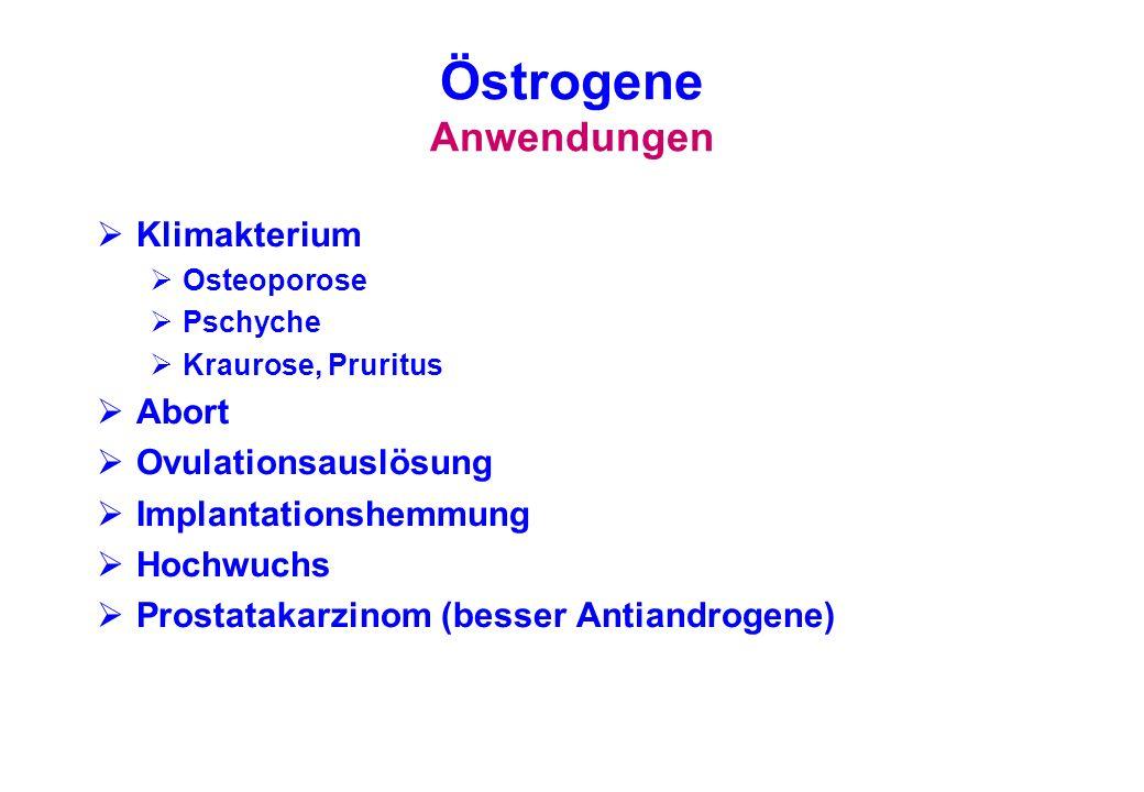 Östrogene Anwendungen Klimakterium Osteoporose Pschyche Kraurose, Pruritus Abort Ovulationsauslösung Implantationshemmung Hochwuchs Prostatakarzinom (
